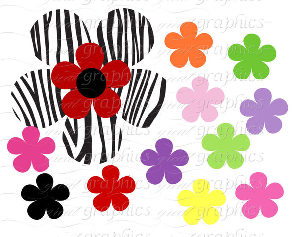 Animal Print Digital Clip Art Flower Clipart Printable - Instant Download