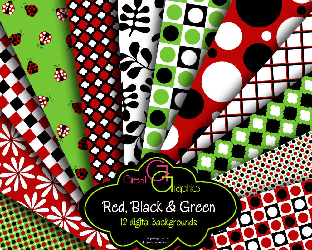 Printable Ladybug Paper Red Black Green Digital Paper Party Paper Digital Paper Printable Background Polka Dot Instant Download