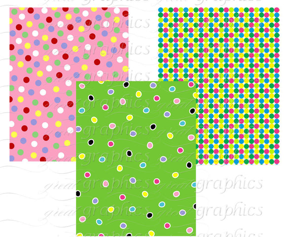 Party Paper Polka Dot Paper Digital Paper Printable Birthday Party Paper Invitation Paper Background - Instant Download