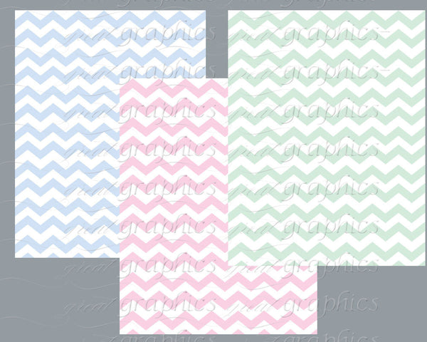 Pastel Chevron Digital Paper Chevron Printable Chevron Background Paper Baby Shower Paper Instant Download