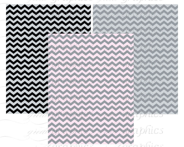 Chevron Print Digital Paper Gray Chevron Paper Gray Chevron Pattern Printable Invitation Paper Digital Background - Instant Download