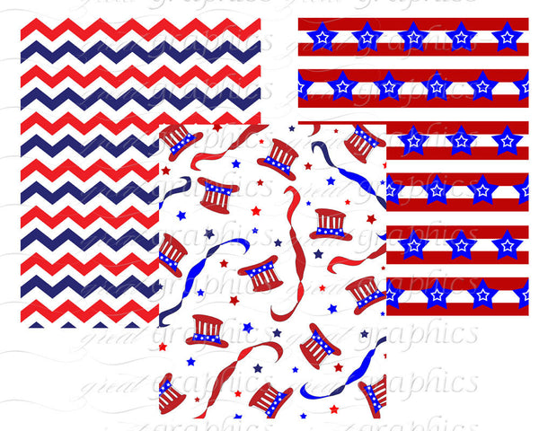 4th of July Patriotic Party Printable Background Paper - Instant Download