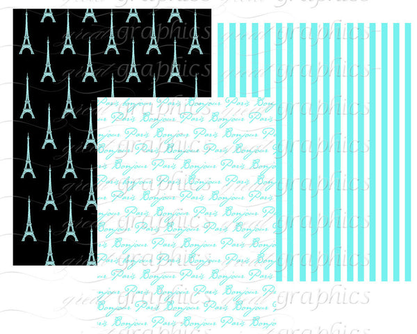 Paris Digital Paper Paris Party Printable Eiffel Tower Paper Blue Paris Paper Digital Paris Party Paper - Instant Download