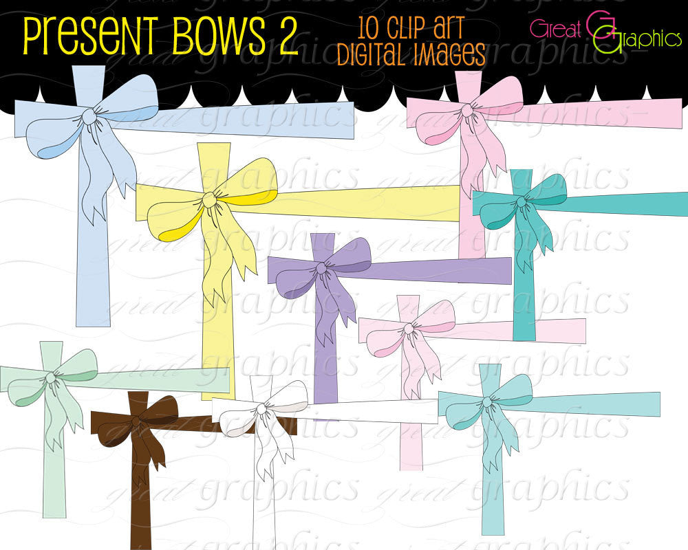 Baby Shower Digital Clipart Birth Announcement Clip Art Digital Bow Printable Pastel Bow Clipart - Instant Download