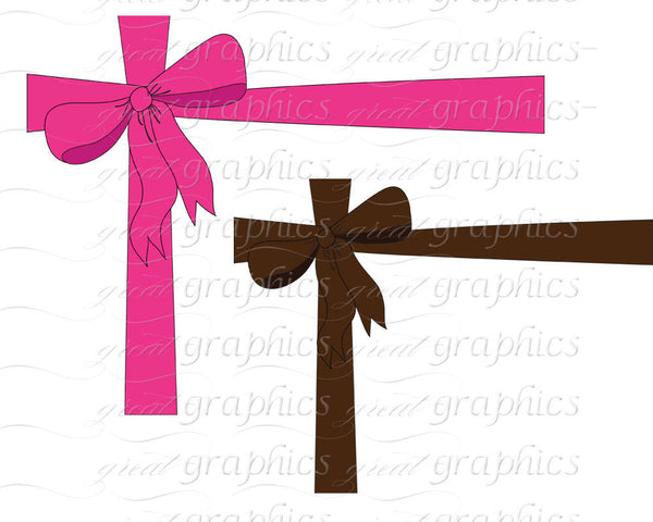 Bow clip art, printable present wrapping bow clip art,  set of 10 digital clipart images for printing, scrapbooking, invitations