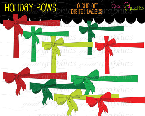 Christmas Bow Digital Clip Art Christmas Printable Clipart Clip Art Bow Christmas Invitation Clipart - Instant Download