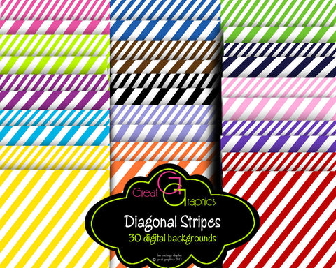 Diagonal Stripe Paper Digital Paper Striped Paper Background Paper Printable Paper Instant Download
