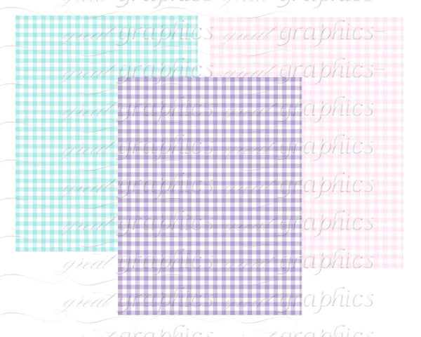 Gingham Digital Paper Pastel Pink Gingham Blue Gingham Baby Shower Paper Invitation Paper Printable Instant Download