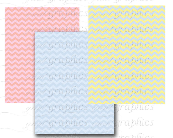 Pastel Chevron Digital Paper Chevron Printable Baby Shower Party Paper Invitation Printable Background - Instant Download