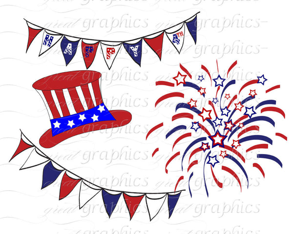 4th of July Digital Clip Art Printable Patriotic Digital Party Clipart - Instant Download
