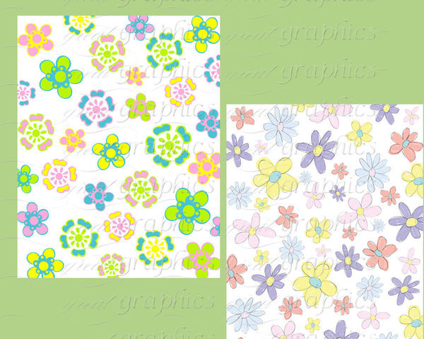 Flower Paper Digital Flower Digital Floral Paper Invitation Paper Flower Printable Pastel Paper Printable - Instant Download