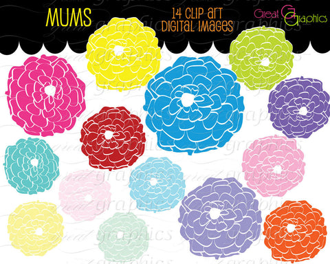 Flower Clipart Flower Digital Clip Art Flower Printable Digital Clipart Flowers Party Clipart Invitation Clip Art - Instant Download