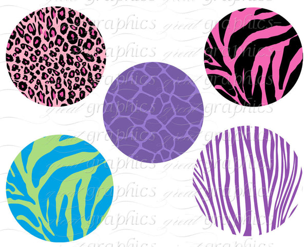 Animal Print Circle Clip Art Digital Clipart Circle Tags -Instant Download
