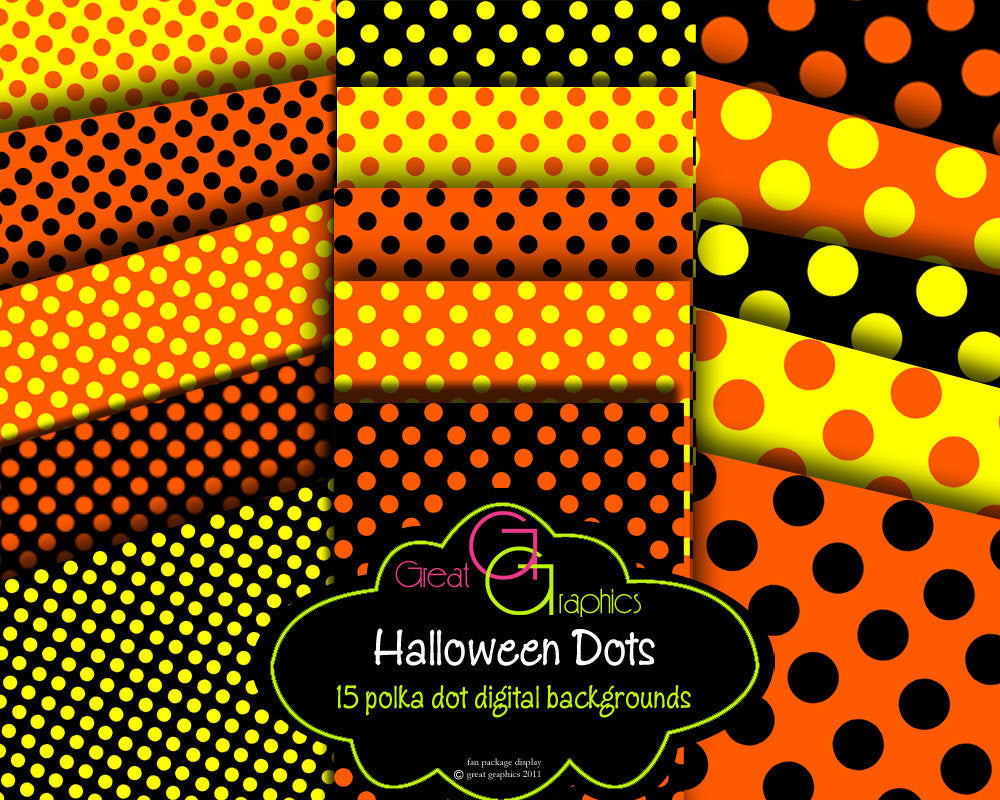 Digital Halloween Paper Polka Dot Digital Paper Printable Halloween Paper Invitation Paper Party Paper - Instant Download