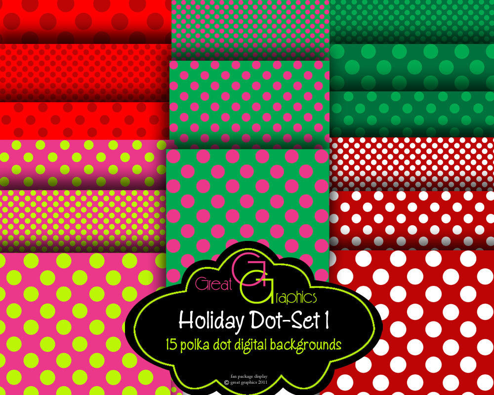 Polka Dot Christmas backgrounds, set 1, printable holiday backgrounds, 3 sizes of polka dot digital background sheets in Christmas colors