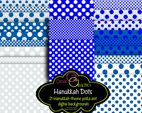 Hanukkah Polka Dot backgrounds, printable Hanukkah background sheets, 3 sizes of polka dot Hanukkah digital background sheets