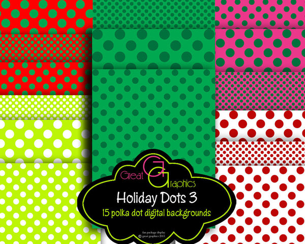 Christmas Digital Background Paper Polka Dot Digital Paper Christmas Paper Printable Christmas Background - Instant Download