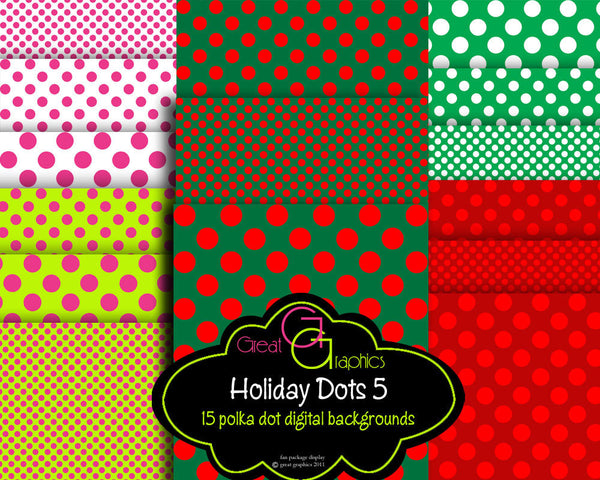 Polka Dot Christmas backgrounds, set 5, printable polka dot holiday digital backgrounds, 3 dot sizes forest green red lime hot pink