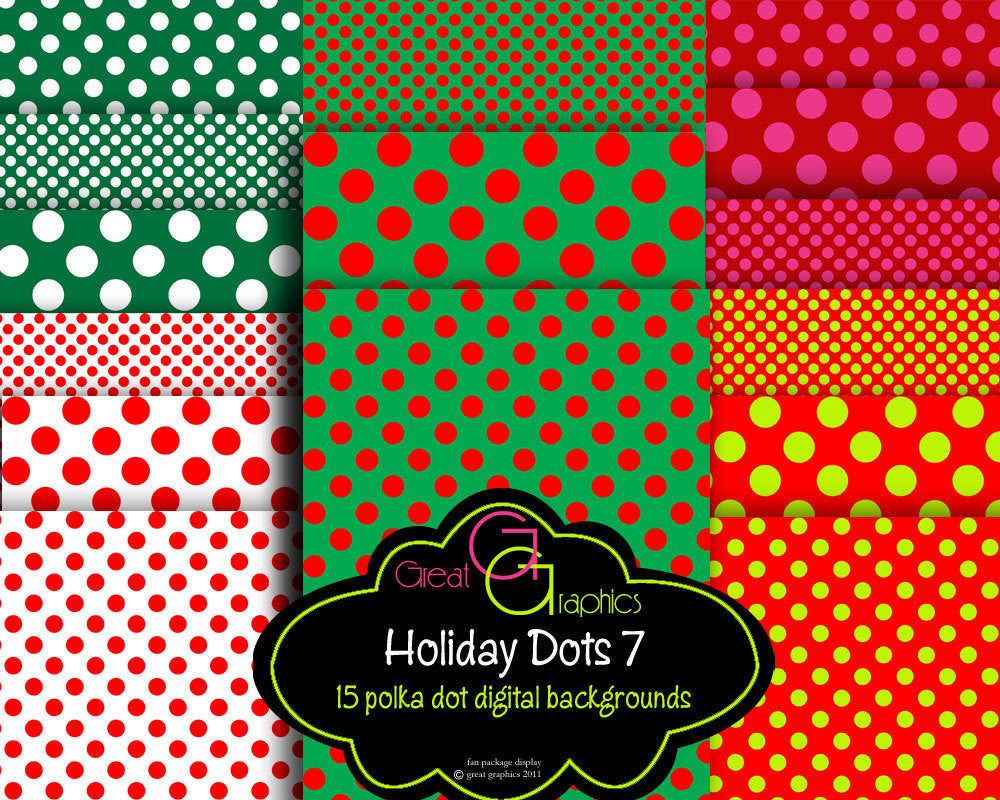 Printable Christmas Polka Dot Paper Christmas Digital Paper Christmas Printable Invitation Paper Scrapbook Paper - Instant Download