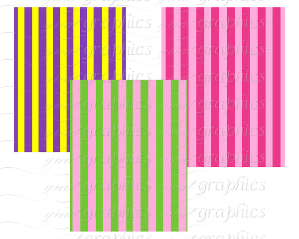 Stripe Digital Paper Stripe Paper Digital Stripes Party Paper Multi Color Stripes Printable Background Paper - Instant Download