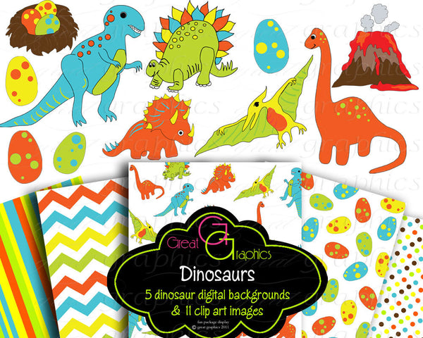 Dinosaur Clipart Dinosaur Clip Art Dinosaur Paper Dinosaur Party Paper Printable Dinosaur Paper Kids Party - Instant Download