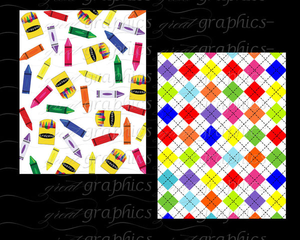Kids Digital Paper Childrens Handprints Crayon Pattern Alphabet Printable Argyle Digital Paper Instant Download