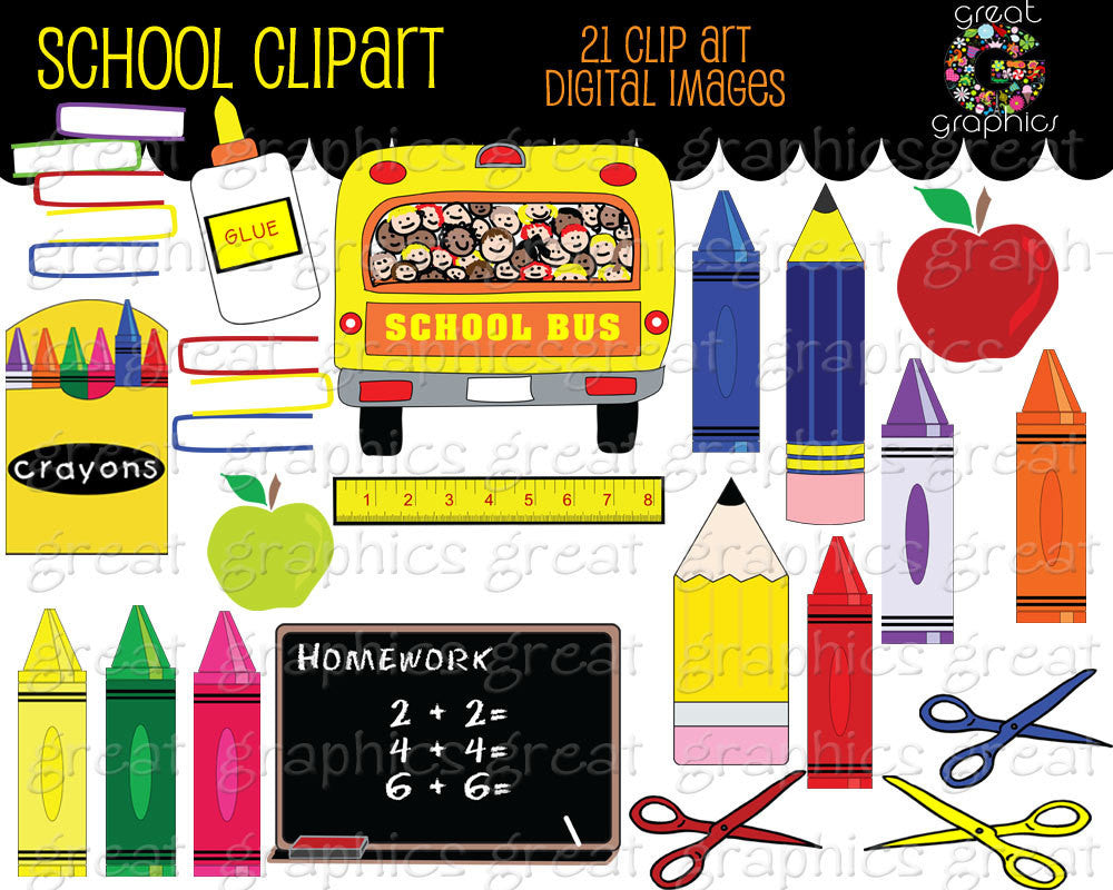School Clipart Printable School Clip Art School Bus Crayon Clipart Chalkboard Teacher Clip Art Digital Clip Art Instant Download