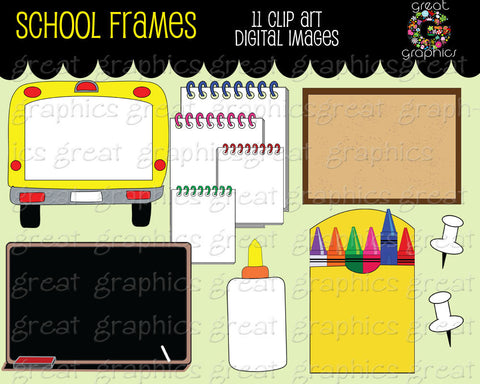 Back to School Clipart Frame Digital Clip Art Frame Chalkboard Crayons School Bus Frame Clipart Printable Clip Art - Instant Download