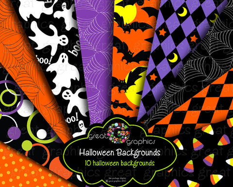 Halloween Paper Printable Halloween Digital Paper Halloween Party Paper Ghost Bat - Instant Download