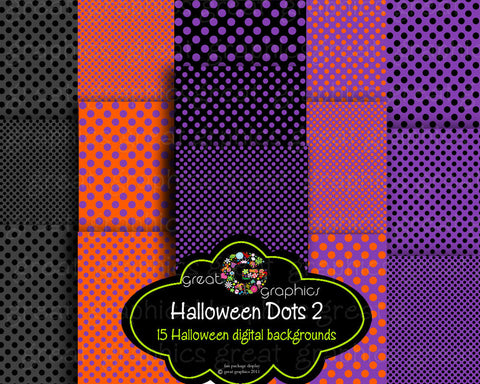 Halloween Party Digital Paper Digital Halloween Paper Printable Polka Dot Halloween Digital Paper - Instant Download