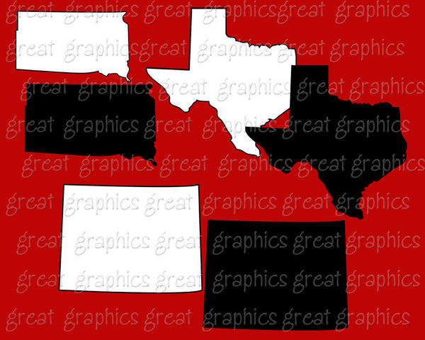 State Clip Art, Missouri, Nebraska, Colorado, Kansas, Missouri, Texas, New Mexico, Oklahoma, South Dakota, North Dakota