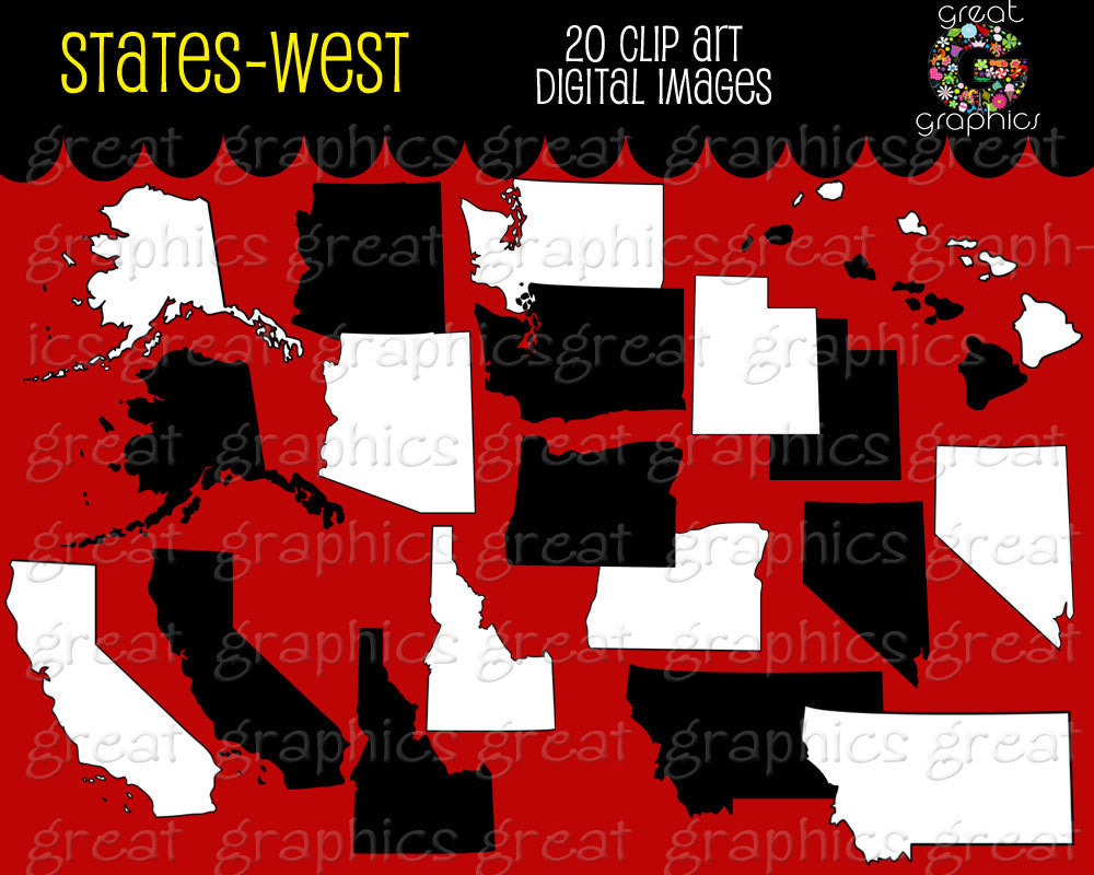 State Clip Art, State Map, Map Clip Art, Digital Map, Map Clipart, Western State Maps, Printable Map, Instant Download