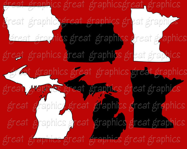 State Map Clip Art Illinois Michigan Minnesota Ohio West Virginia, Wisconsin Indiana Iowa Clipart - Instant Download