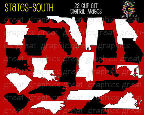 State Clip Art Map Digital Clipart Alabama Georgia Florida Mississippi Tennessee Louisiana Virginia Arkansas Carolina - Instant Download