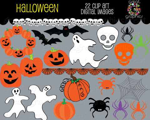 Halloween Clipart Halloween Digital Clip Art Halloween Digital Download Ghost Jack o Lantern Printable Halloween - Instant Download
