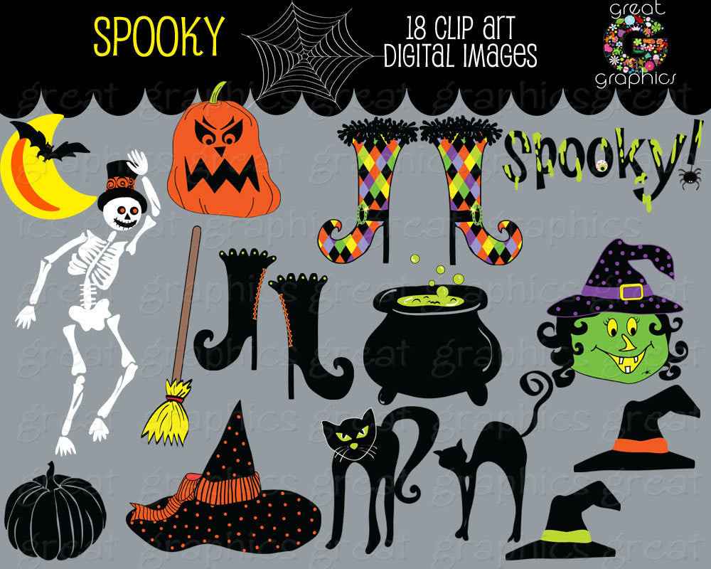 Halloween Clipart Halloween Clip Art Halloween Digital Download Halloween Witch Skeleton Cat Halloween Printable - Instant Download