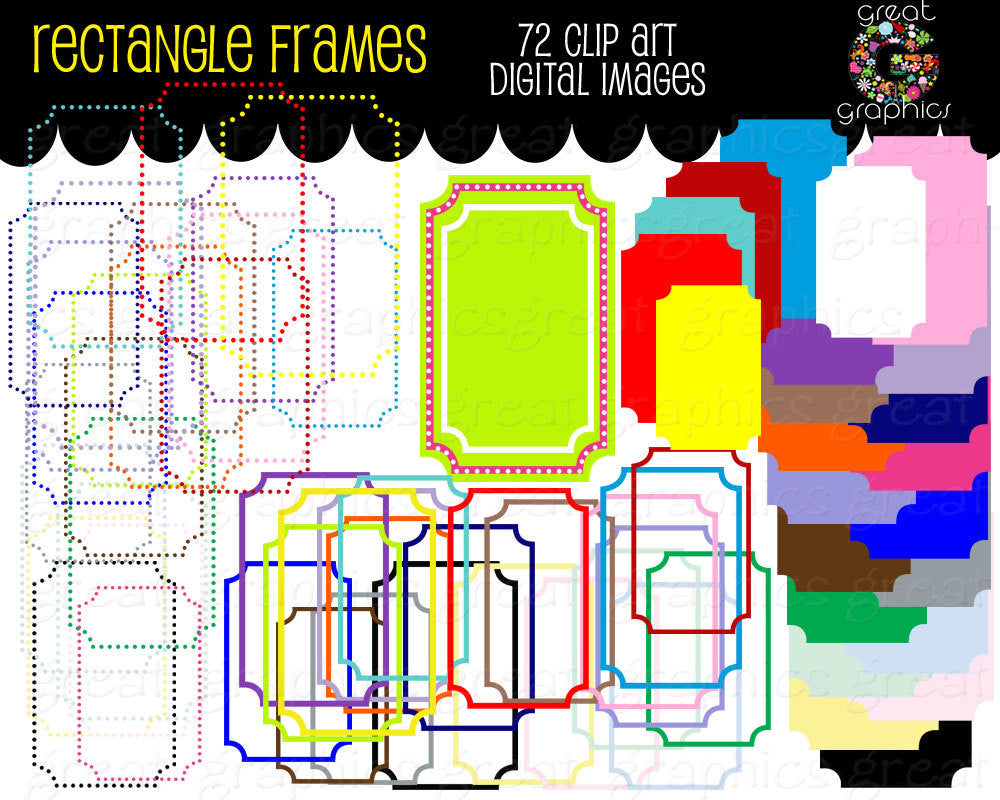 Rectangle Frame Digital Clip Art Digital Frame Clipart Printable Invitation Clip Art Frame Digital Frame - Instant Download