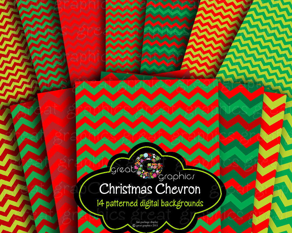 Christmas Chevron Digital Printable Paper Holiday Paper Christmas