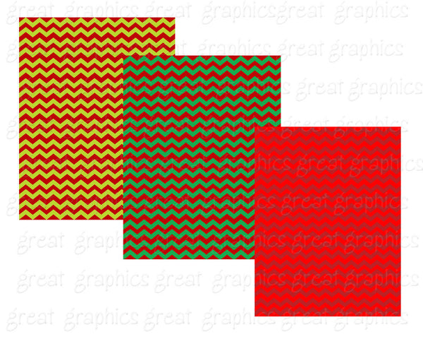 Christmas Chevron Digital Printable Paper Holiday Paper Christmas Invitation Paper Chevron Pattern Red Green - Instant Download