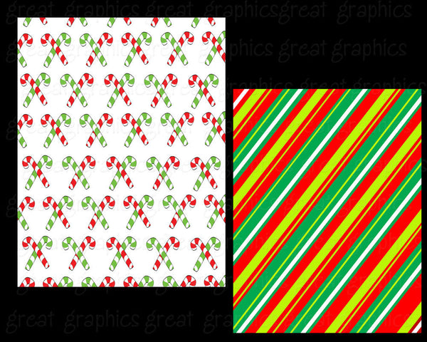 Digital Christmas Paper Christmas Candy Digital Paper Candy Cane Pattern Paper Holiday Invitation Paper - Instant Download