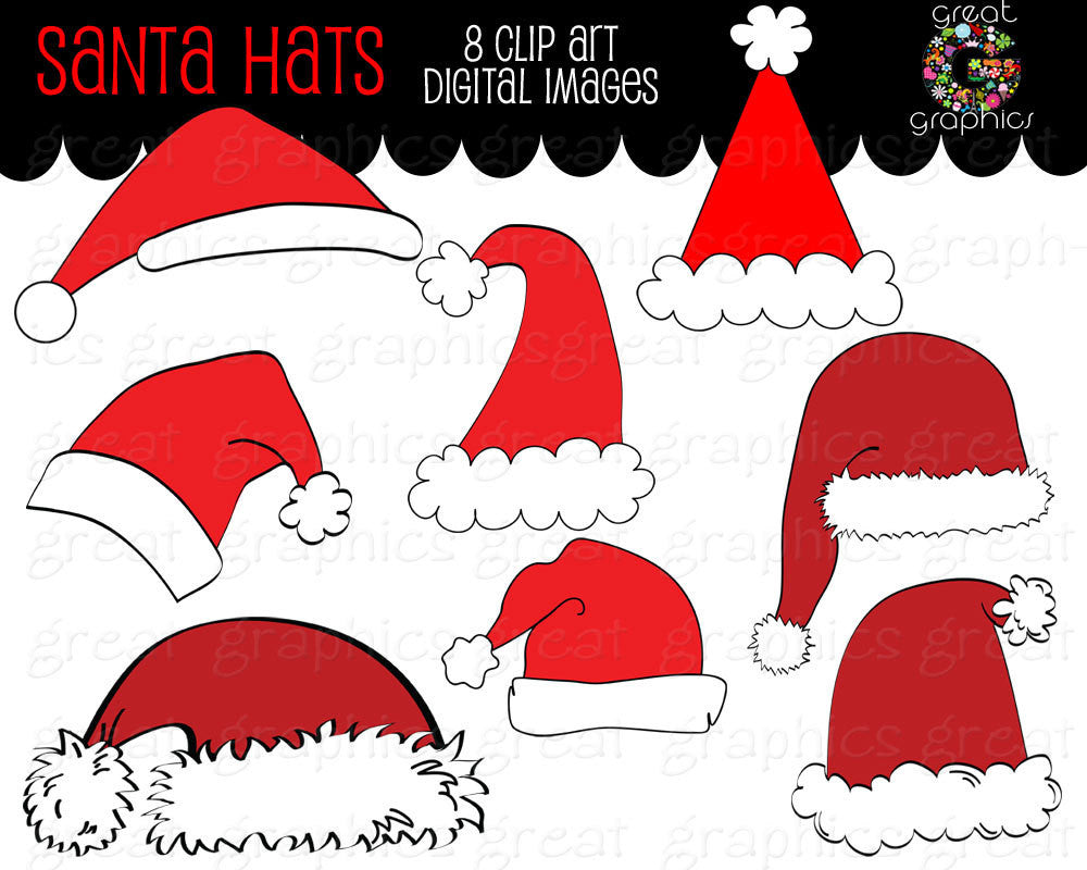 Santa Clipart Digital Clip Art Santa Hat Digital Download Christmas Clipart Holiday Clip Art Printable Santa Hat - Instant Download