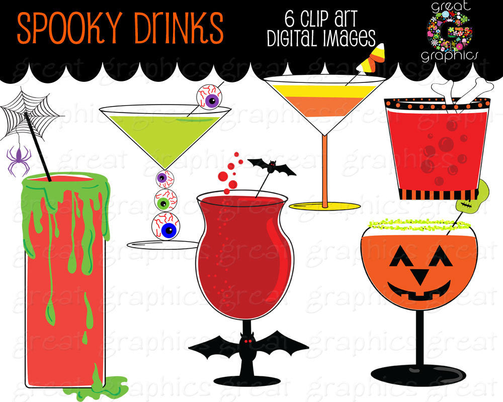 Halloween Clipart Halloween Party Printable Cocktail Drink Clip Art Digital Clip Art Halloween Clipart - Instant Download