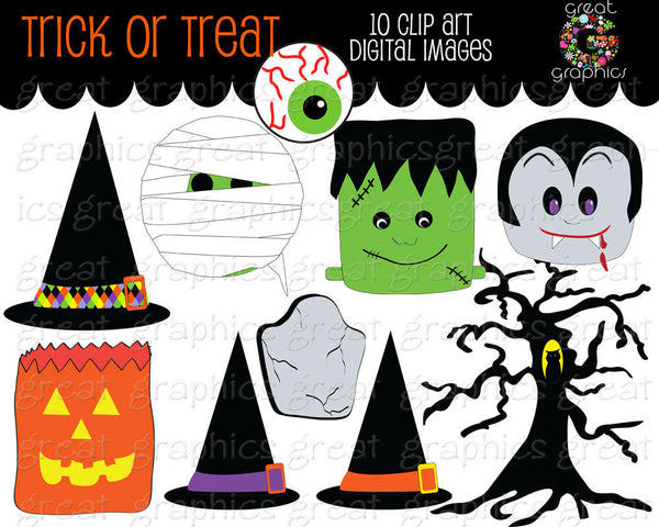 Halloween Clipart Digital Clip Art Halloween Mummy Dracula Tombstone Witch Hat Digital Clipart Halloween Party Clipart - Instant Download