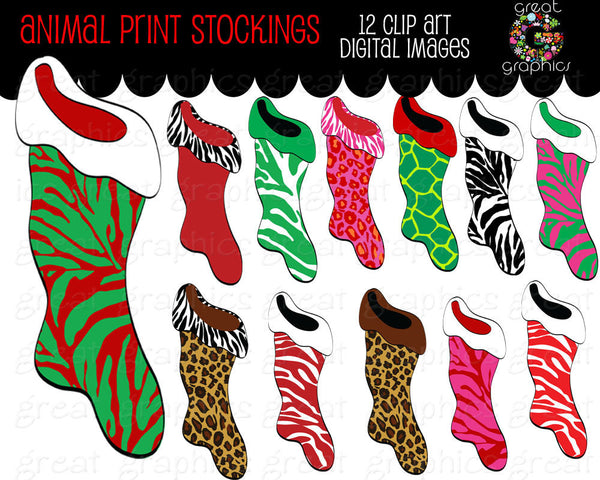 Christmas Stocking Clip Art Animal Print Christmas Stocking Printable Christmas Christmas Stocking Clipart - Instant Download