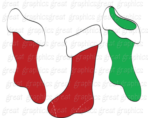 Christmas Clipart Digital Christmas Clip Art Christmas Stocking Digital Christmas Images Printable Christmas Clipart - Instant Download
