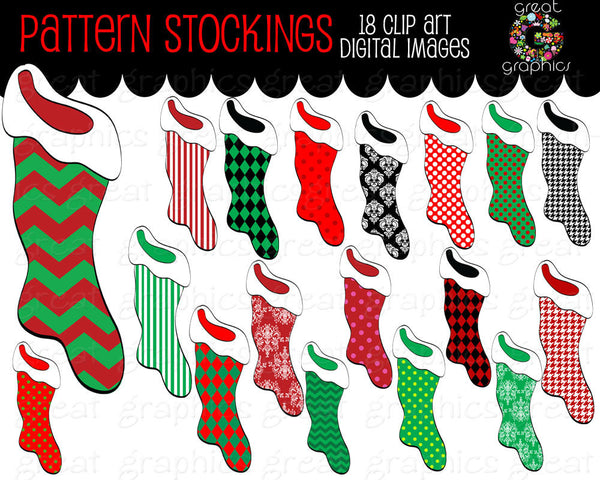 Christmas Stocking Clip Art Christmas Clipart Digital Clip Art Printable Christmas Stocking Invitation Clipart - Instant Download