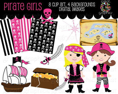 Girl Pirate Clipart Pirate Clipart Pirate Paper Pirate Digital Paper Pink Girl Pirate Clip Art Instant Download