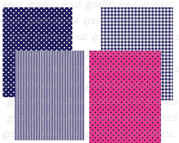 Hot Pink and Navy Digital Paper Polka Dot Paper Digital Background Digital Pattern Printable Paper Instant Download