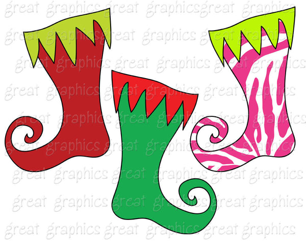 Christmas Clipart Christmas Stocking Clip Art Digital Christmas Clip Art Whimsical Christmas Clipart - Instant Download