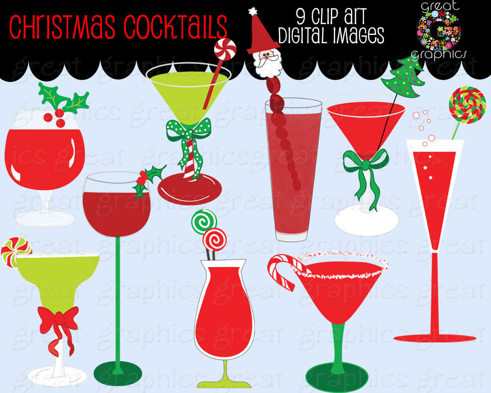 Christmas Clipart Drink Clipart Digital Christmas Invitation Clip Art Party Clipart Martini Clipart Printable - Instant Download